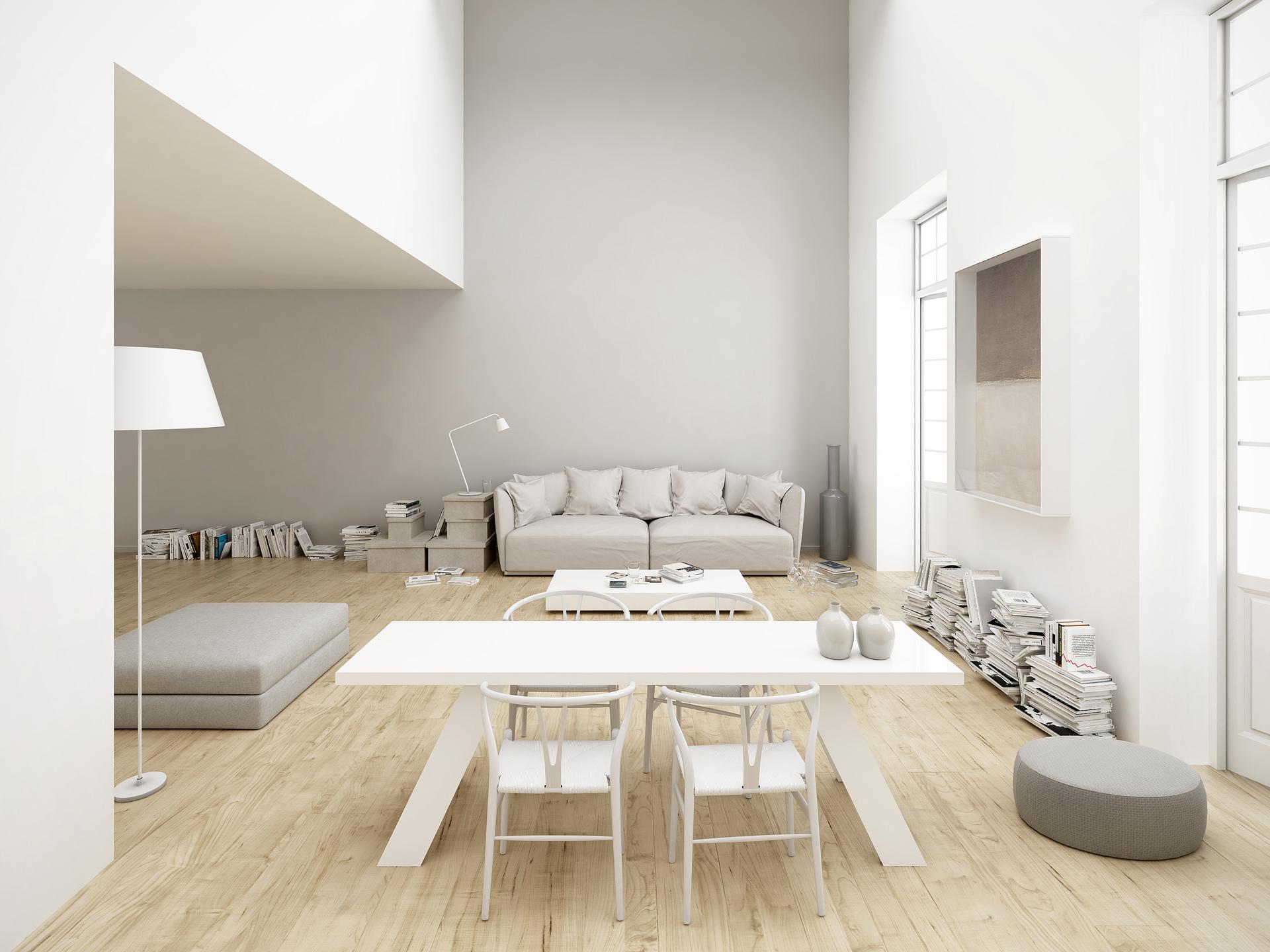 rendering fotorealistico del soggiorno della casa di Andrea, Chiara e Sofia progettato da Francesco Aureli a Perugia