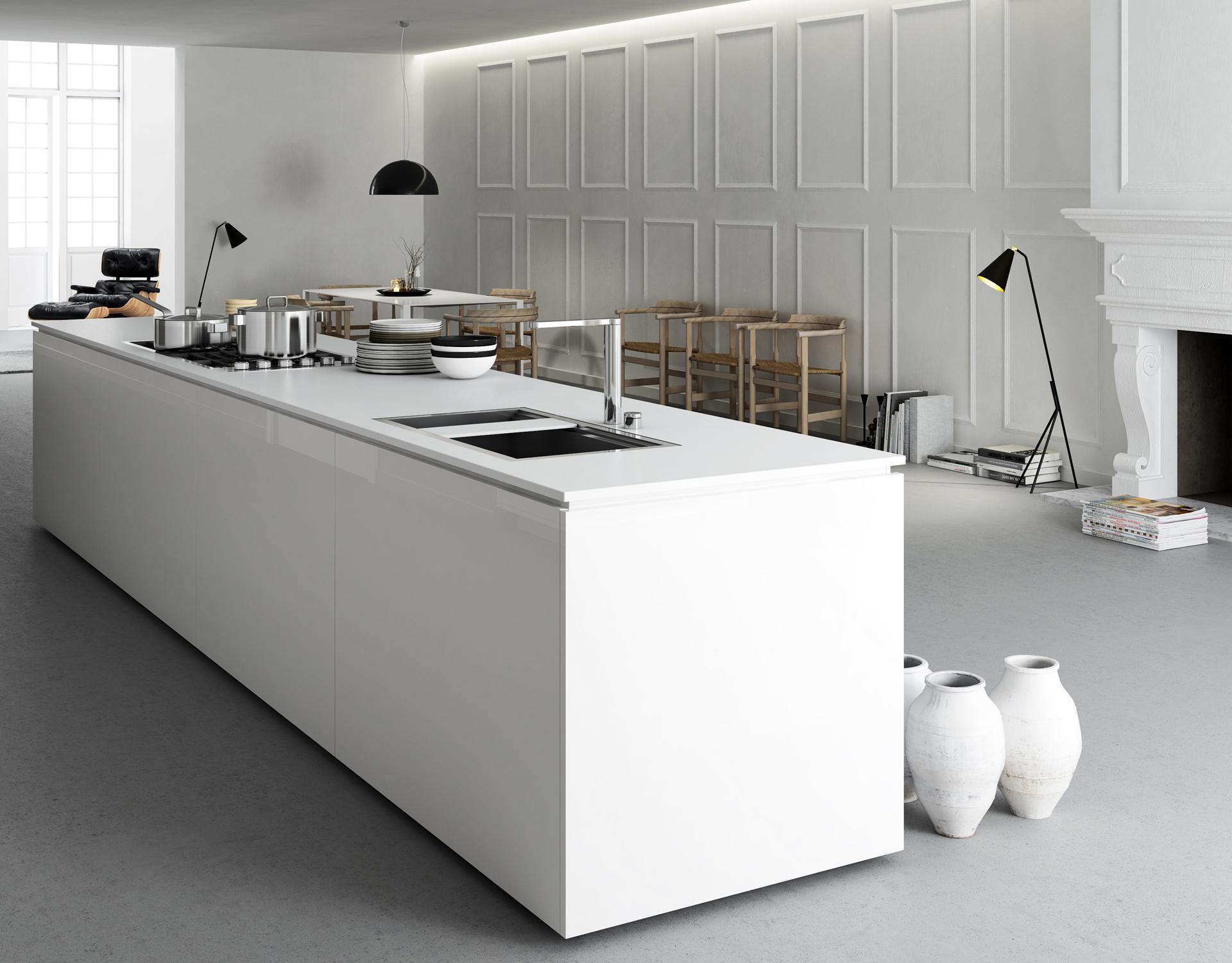 rendering fotorealistico della zona cucina e living della casa di Alessandro e lucia progettata da Francesco Aureli