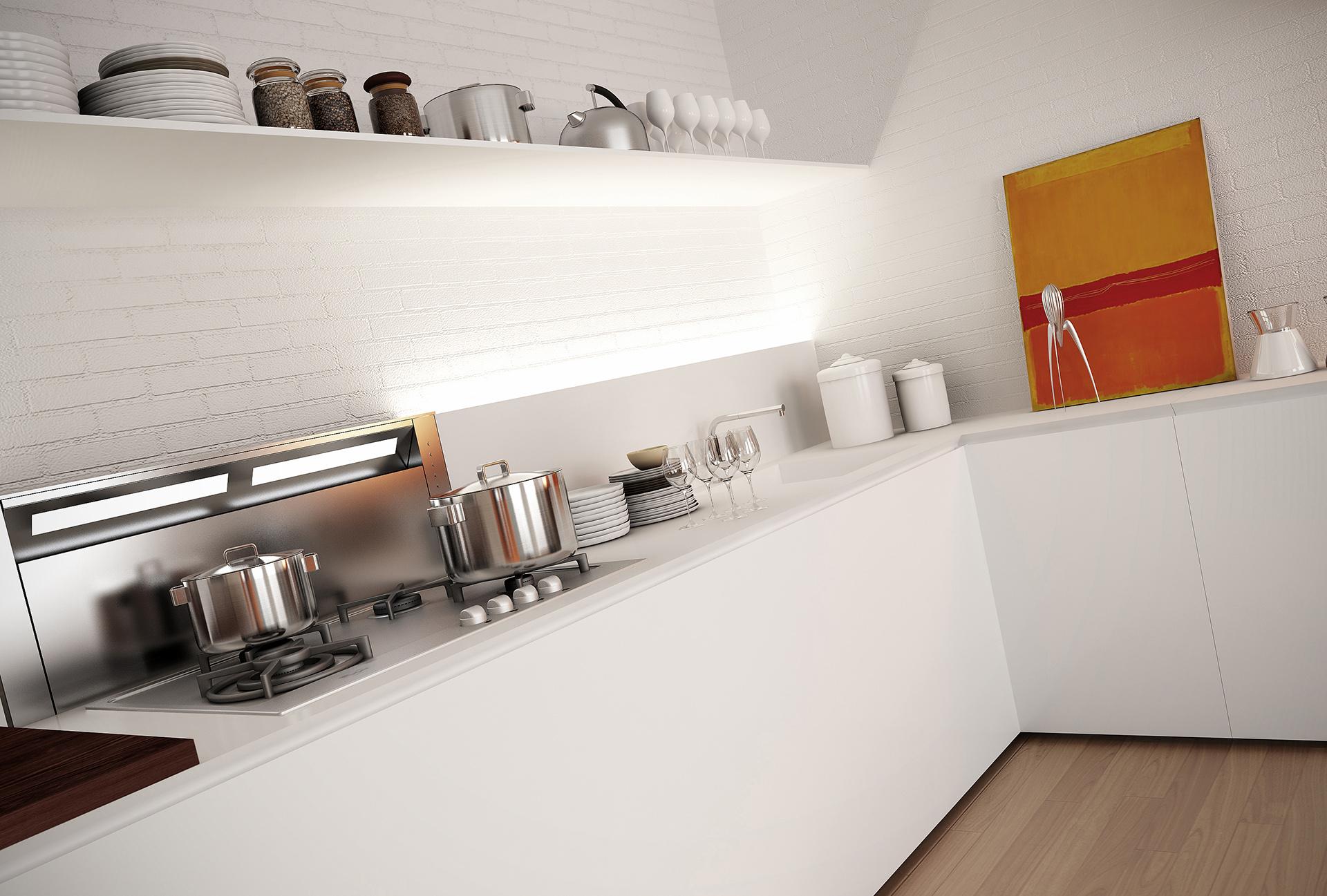 rendering fotorealistico della cucina dell'appartamento progettato da Francesco Aureli a Perugia