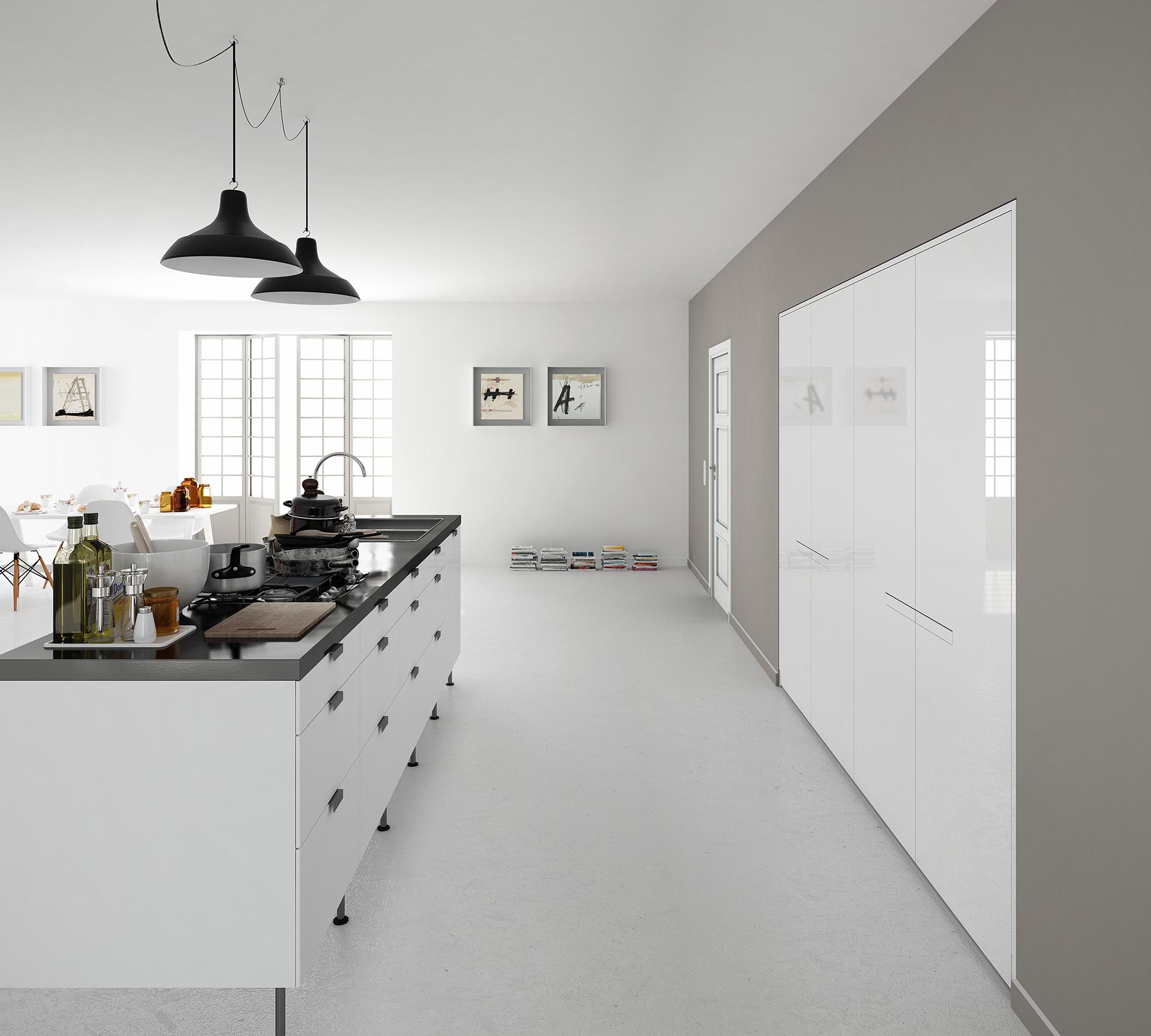 3d e render del salone della casa di Giacomo e Pamela progettato da Francesco Aureli in Umbria