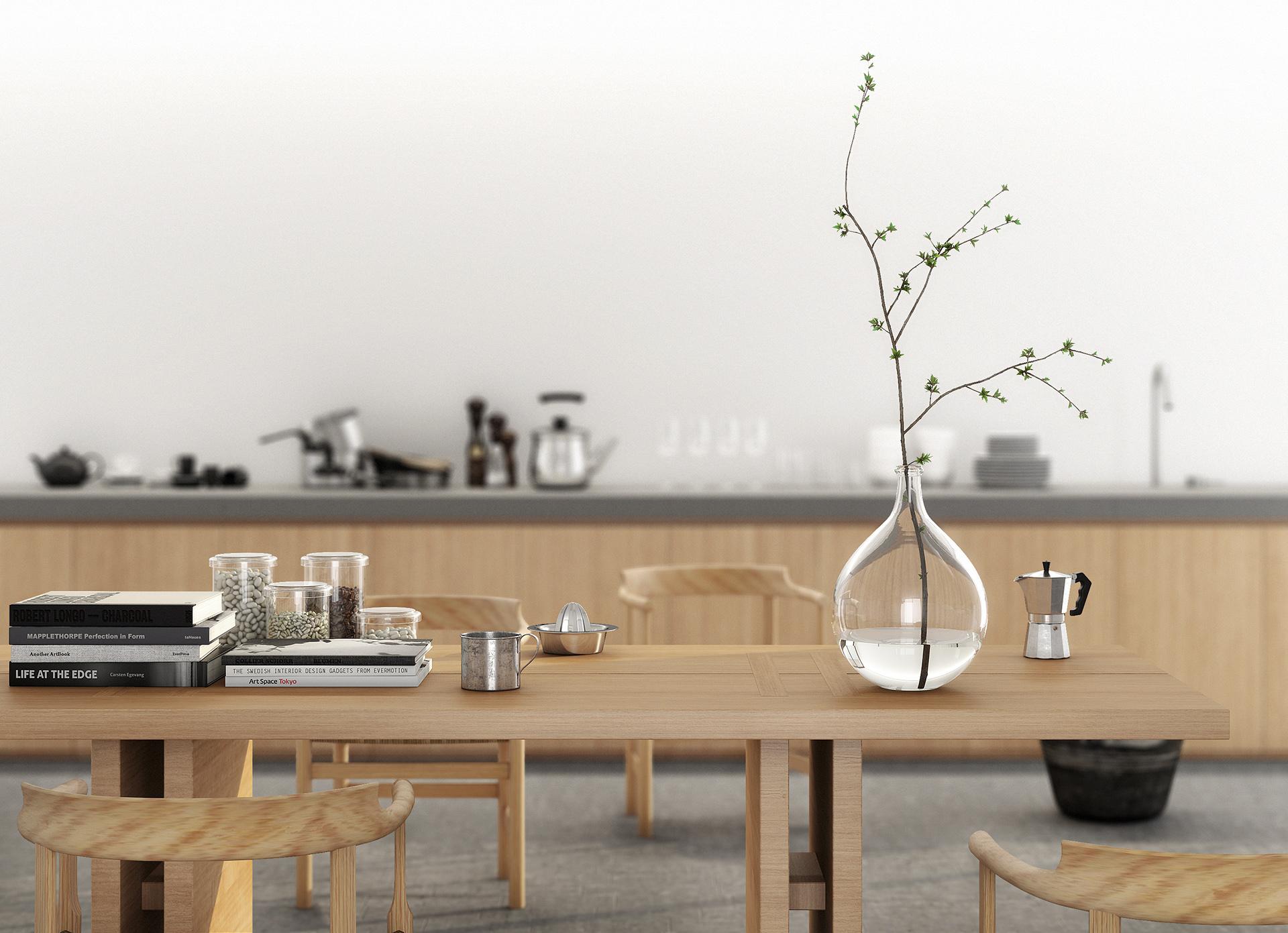 rendering fotorealistico della cucina dell'appartamento progettato da Francesco Aureli a Foligno