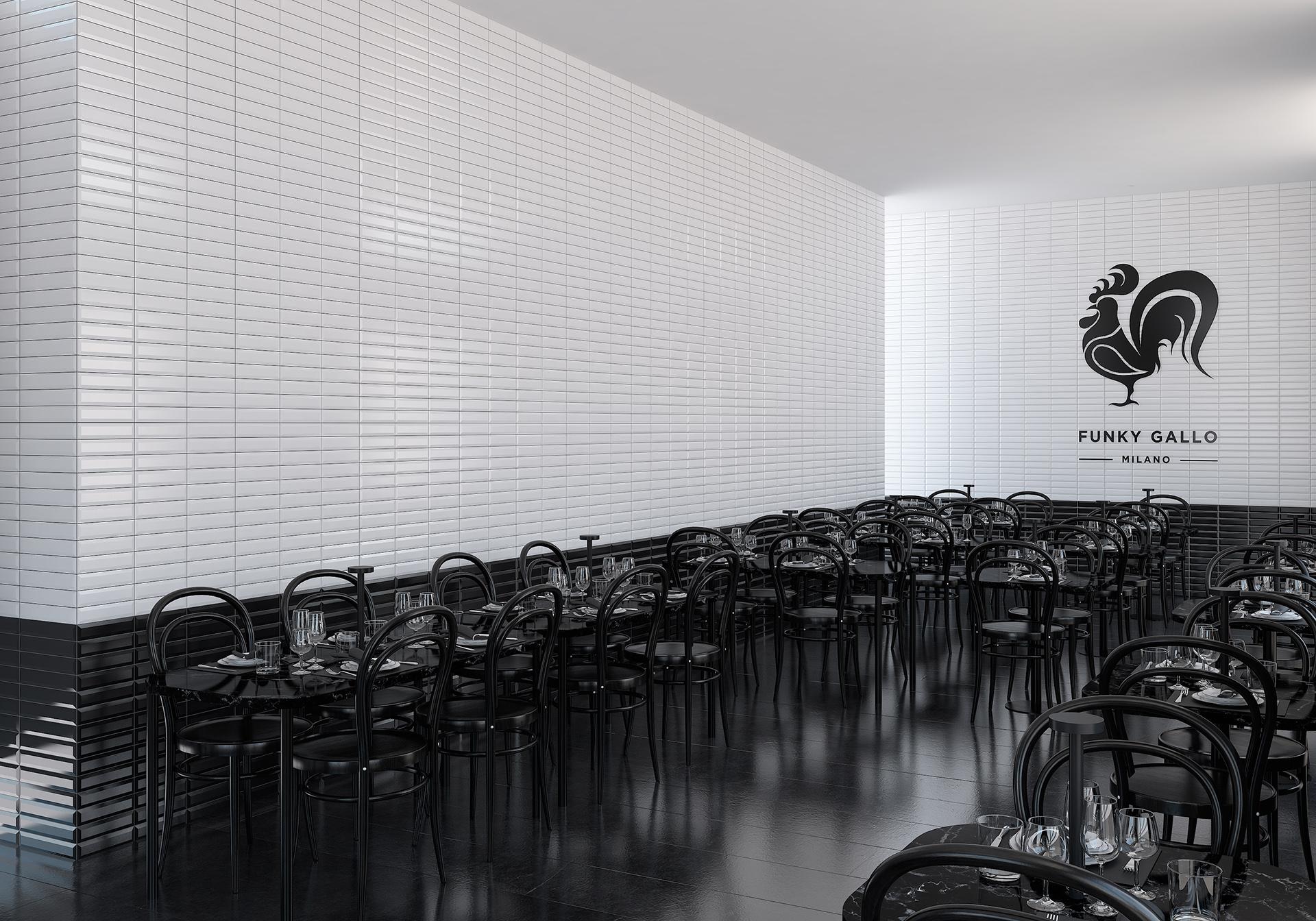 rendering fotorealistico diurno di un ristorante e pizzeria a Milano progettato da Francesco Aureli