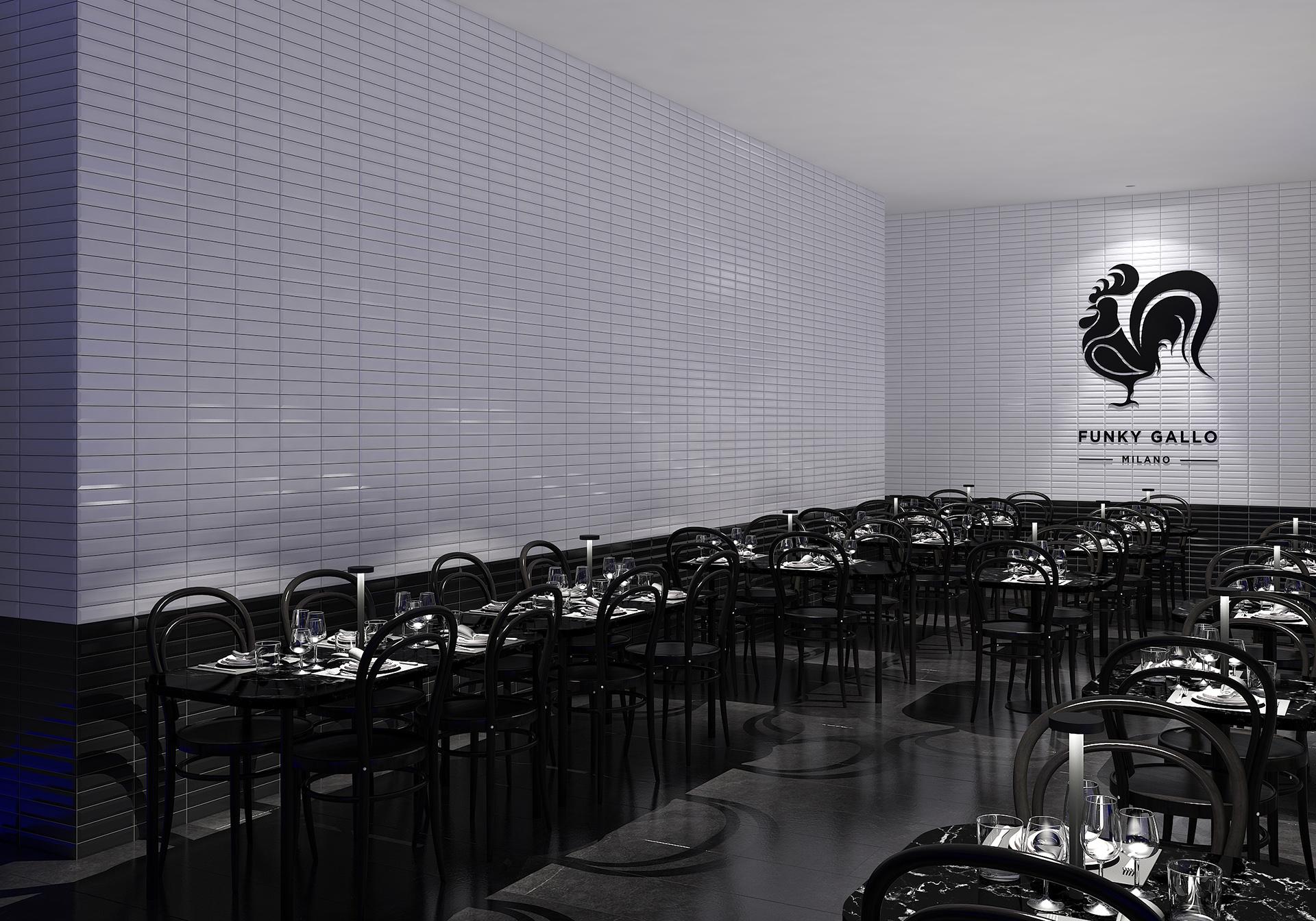 rendering fotorealistico notturno di un ristorante e pizzeria a Milano progettato da Francesco Aureli