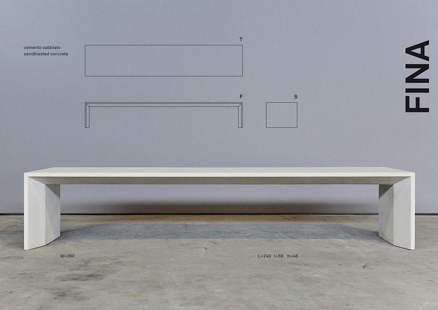 FINA design di una panchina in cemento disegnata da Francesco Aureli
