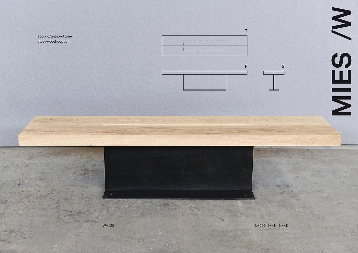 MIES design di una panchina in acciaio e legno disegnata da Francesco Aureli