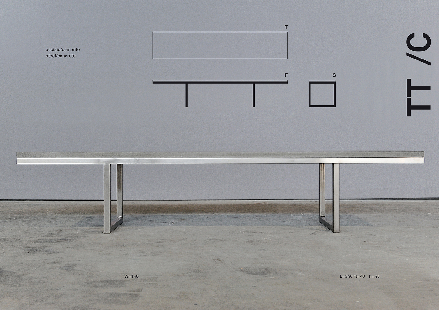 TT design di una panchina in cemento e acciaio disegnata da Francesco Aureli