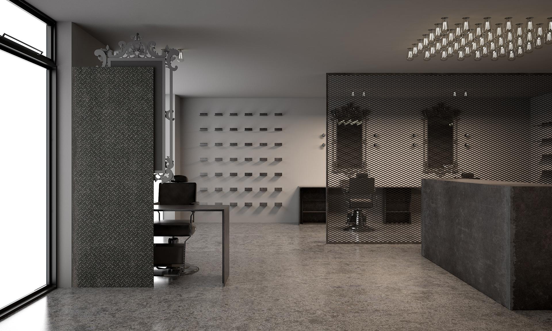modellazione 3d e rendering di un Barber shop in Toscana progettato da Francesco Aureli