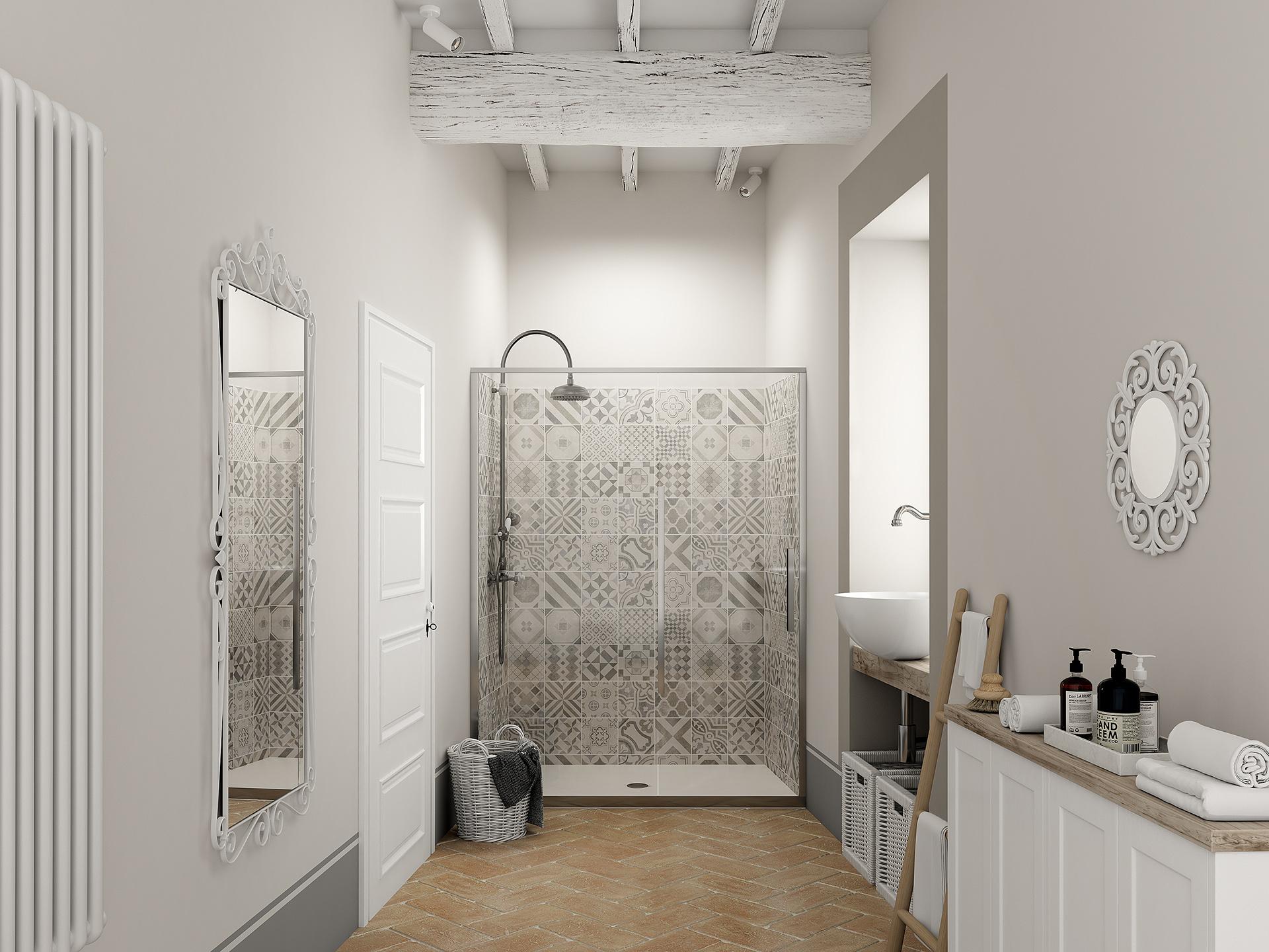 modellazione 3d e rendering fotorealistico del bagno di Palazzo San Michele, progettato da Francesco Aureli