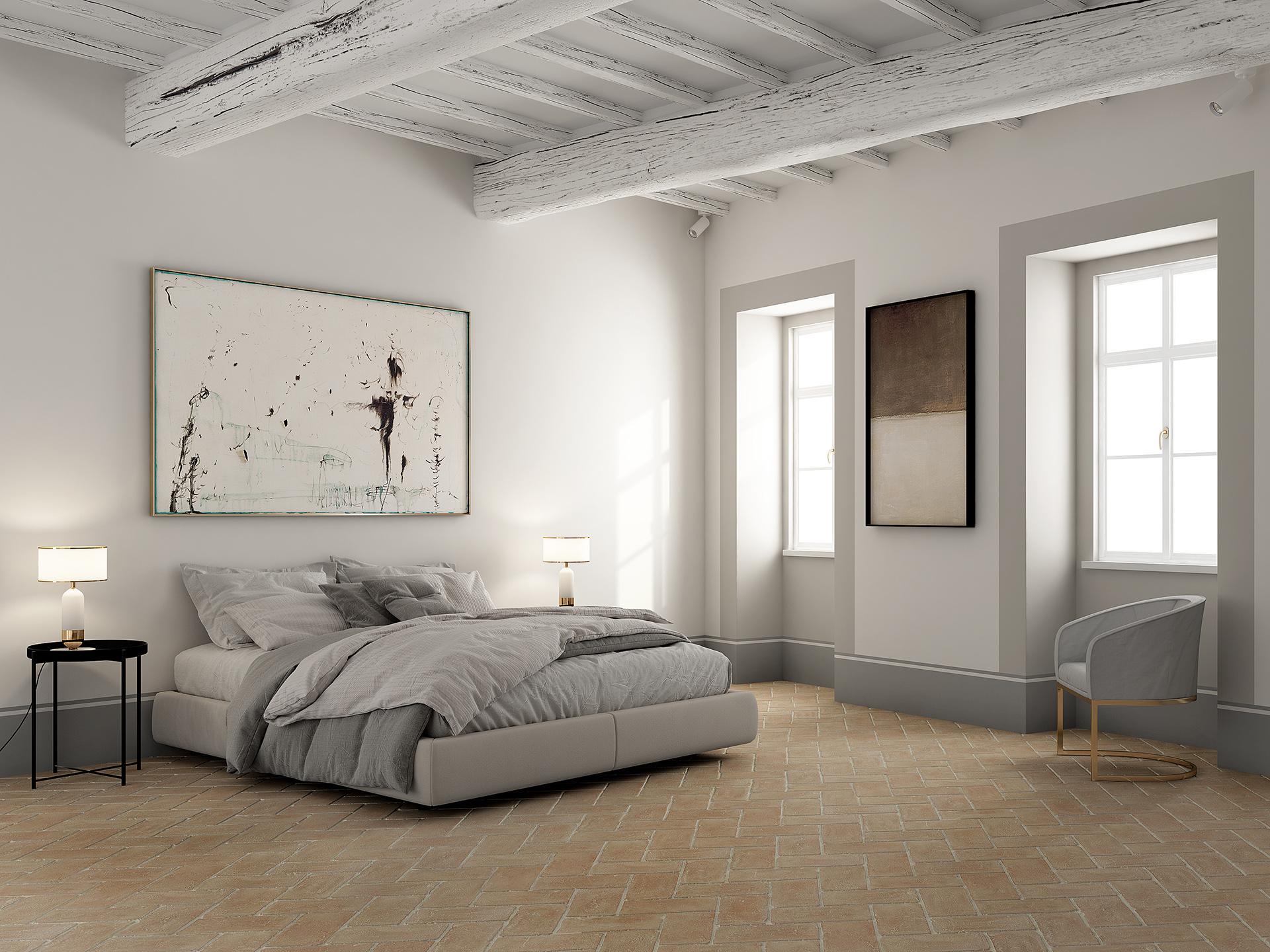 rendering fotorealistico della camera da letto principale cucina di un palazzo storico, progettata da Francesco Aureli