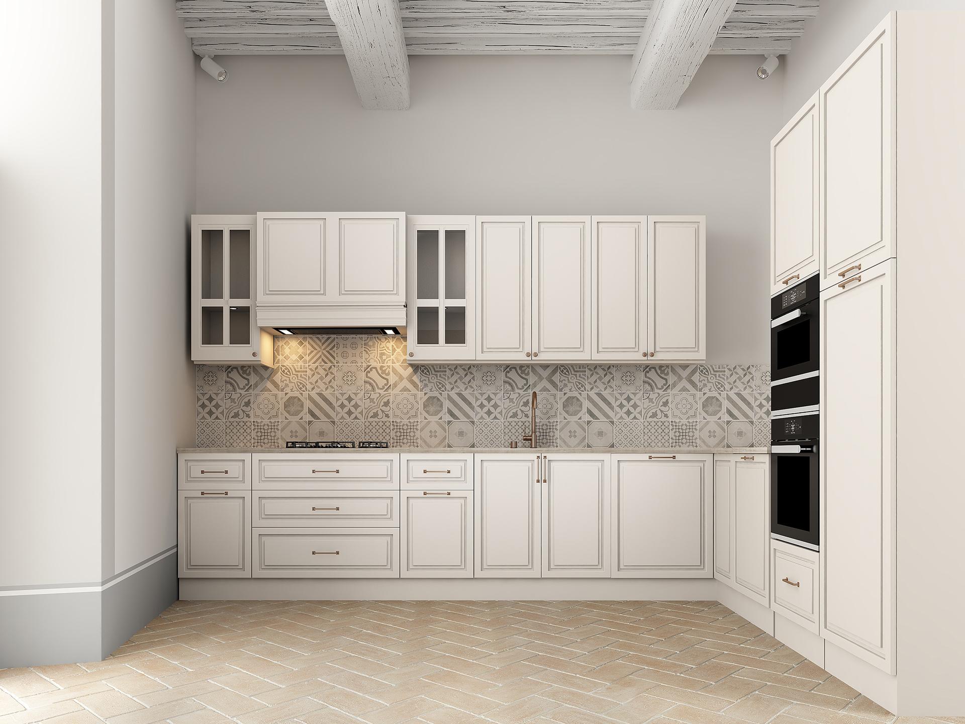 rendering fotorealistico dell'area cucina di Palazzo San Michele, progettato da Francesco Aureli