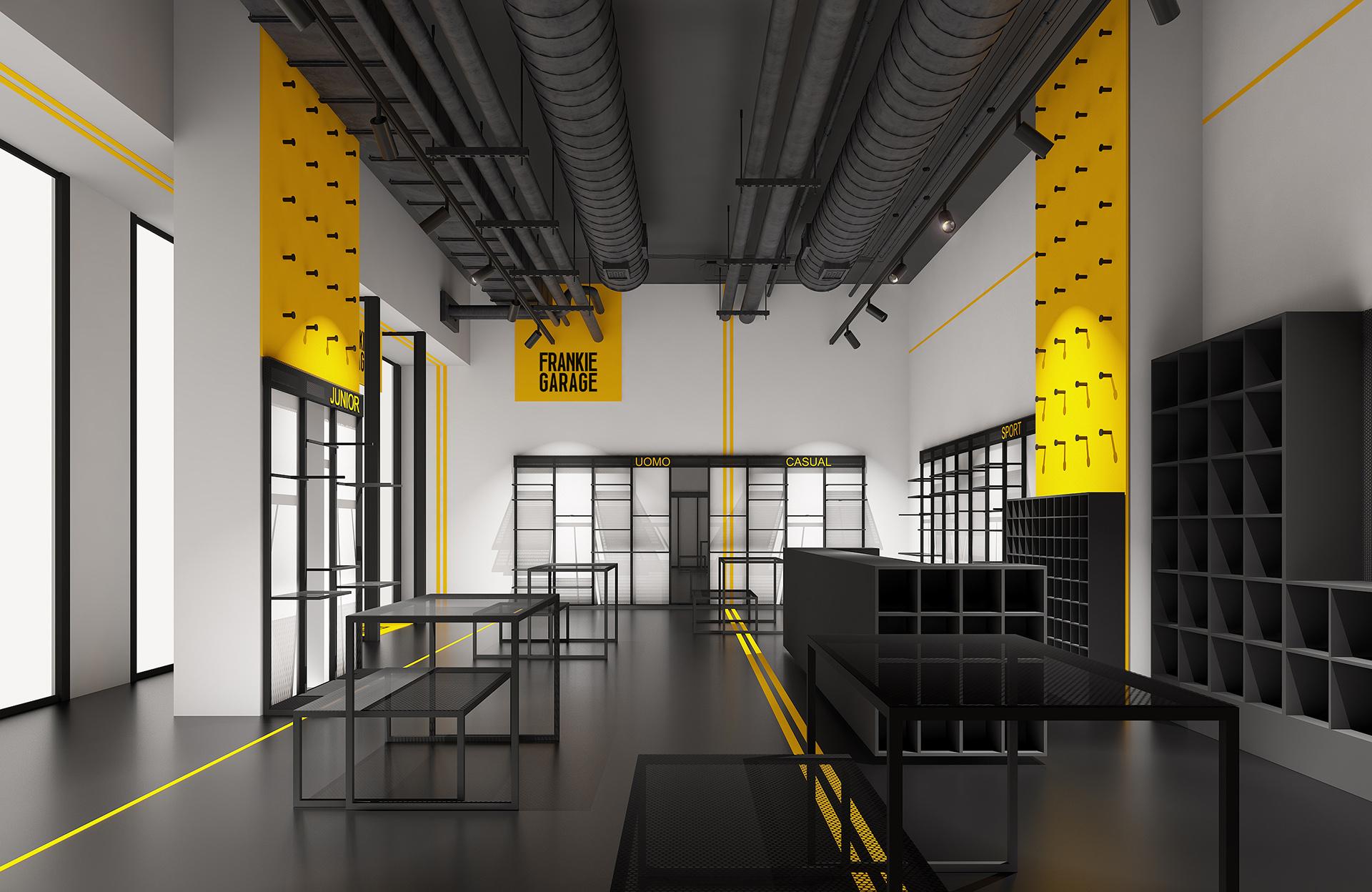 visualizzazione architettonica di un negozio d'abbigliamento di Frankie Garage a Roma progettato da Francesco Aureli