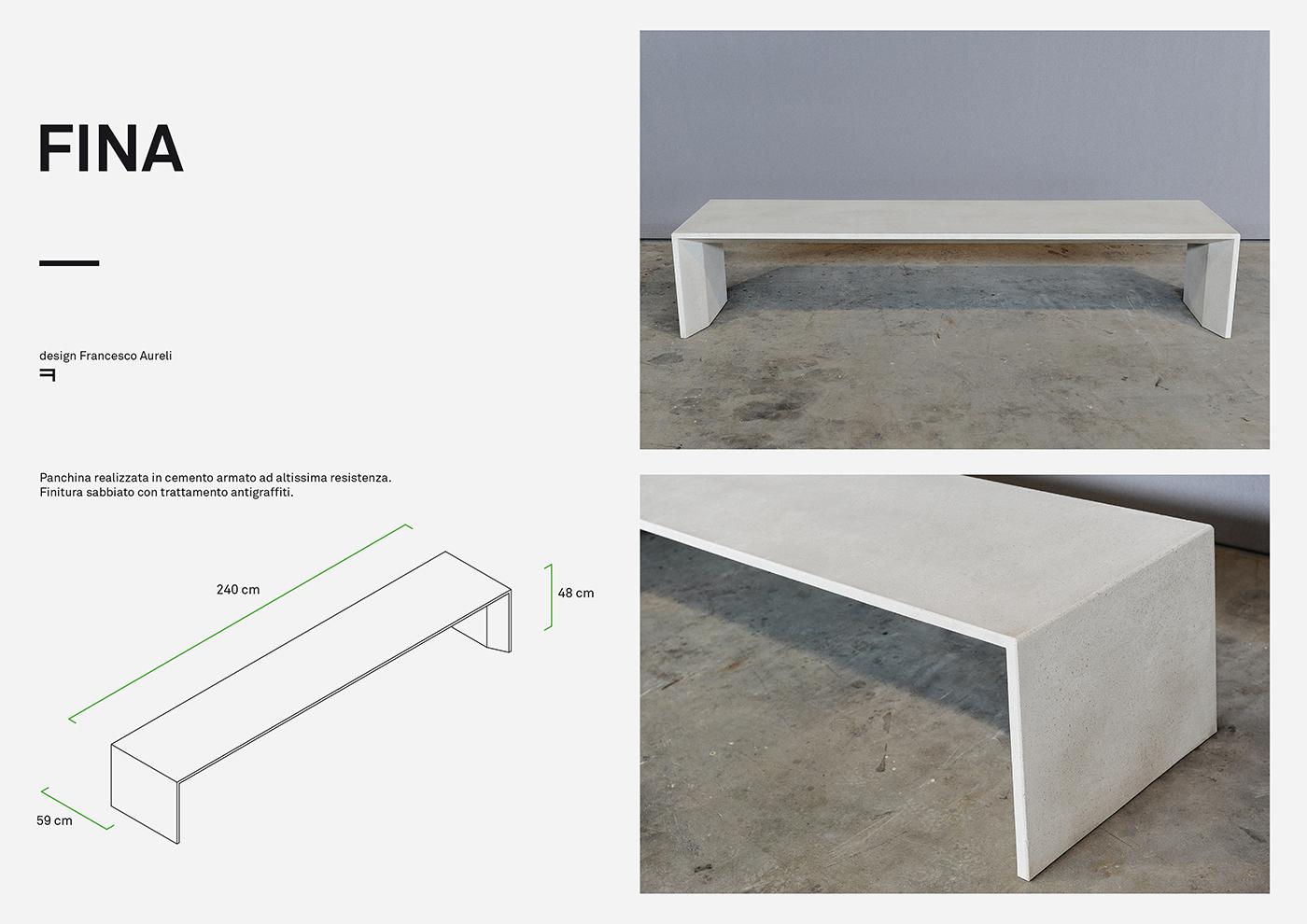 FINA design di arredo urbano in cemento disegnato da Francesco Aureli