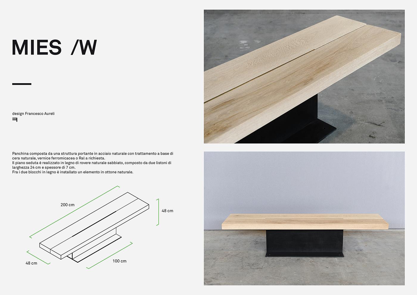 MIES design di arredo urbano in acciaio e legno progettato da Francesco Aureli