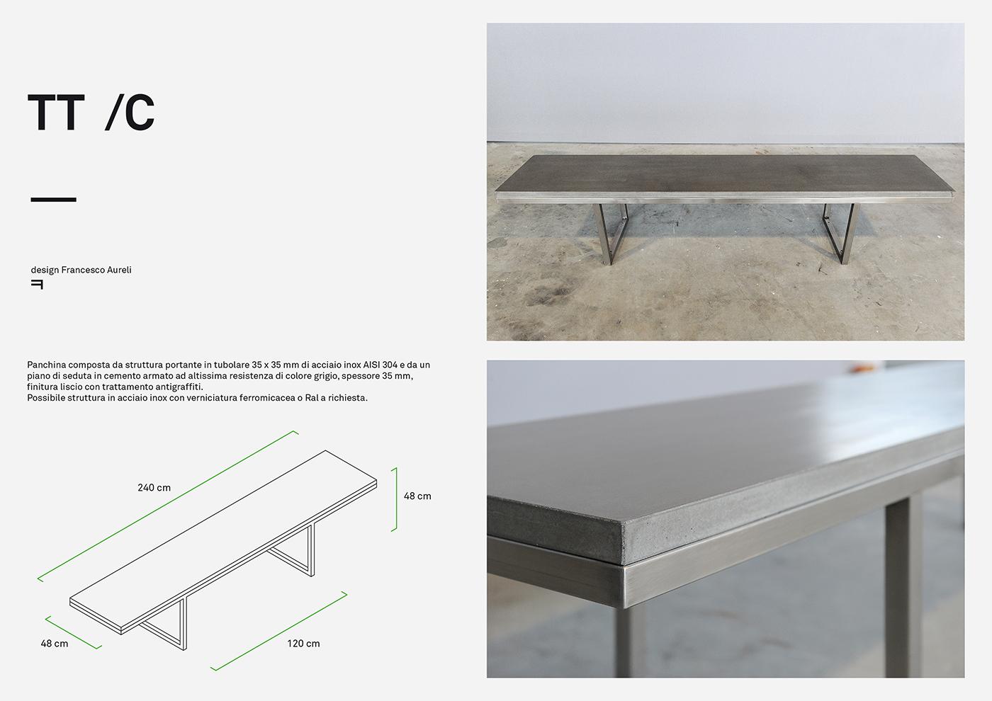 TT design di arredo urbano in cemento a acciaio progettato da Francesco Aureli