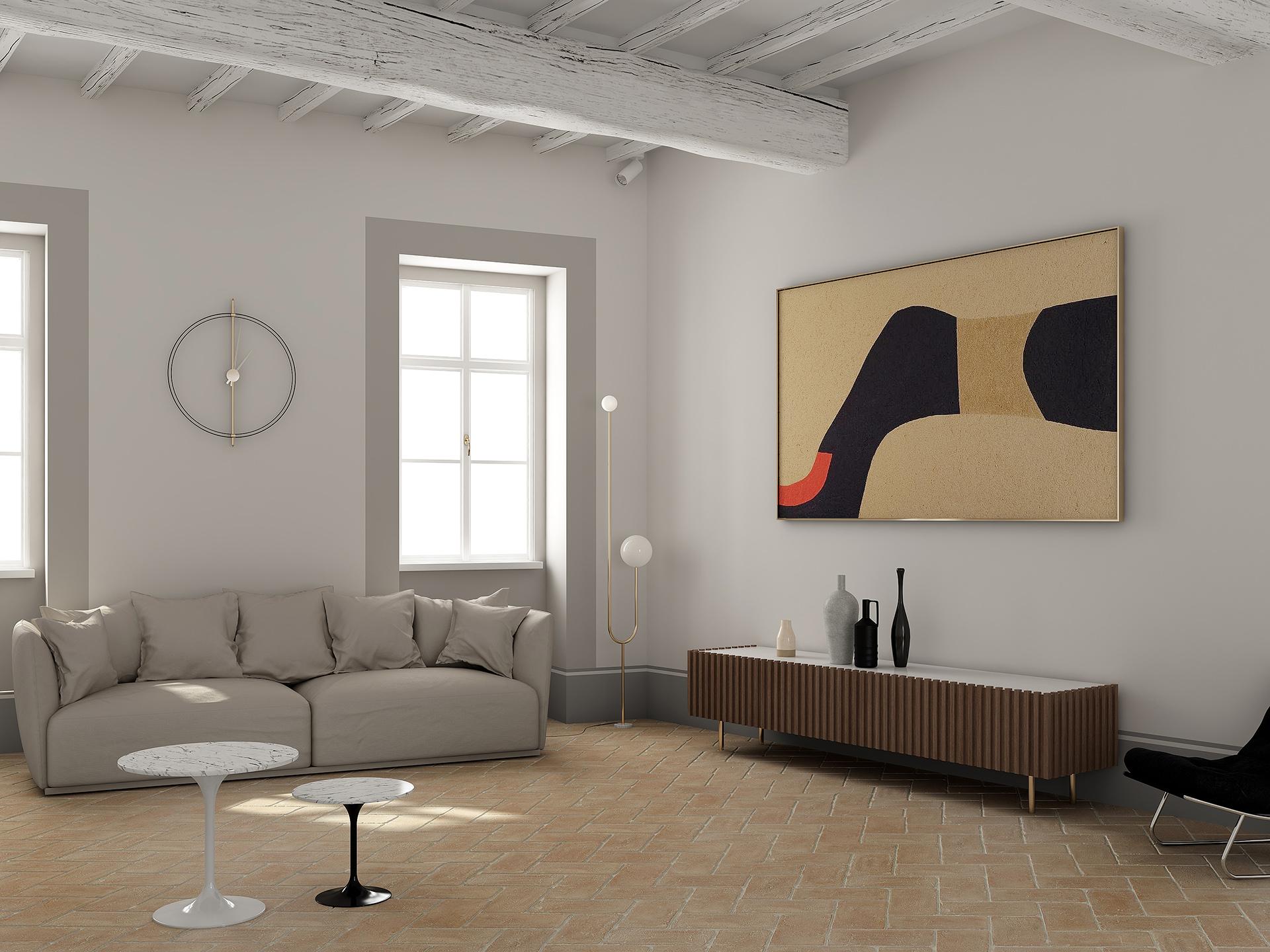 modellazione 3d e render del soggiorno di Palazzo San Michele, progettato da Francesco Aureli