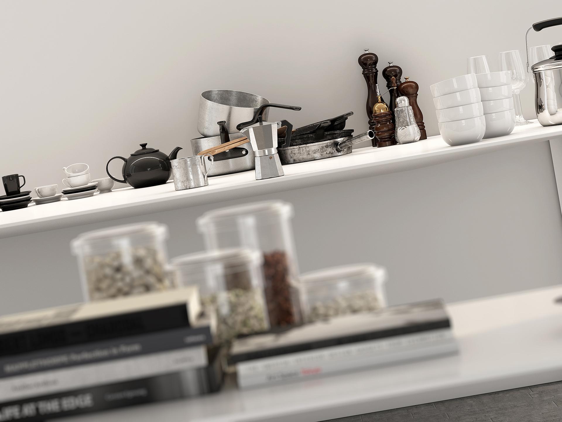 progetto e rendering fotorealistico di un set cucina con i suoi complementi di arredo